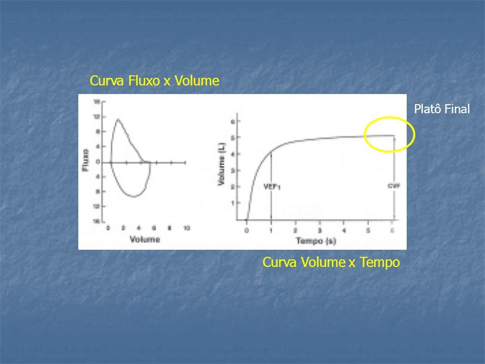 Curva Fluxo x Volume Platô Final Curva Volume x Tempo