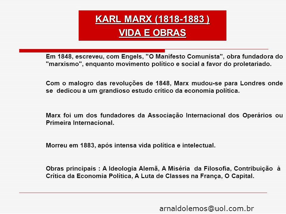 KARL MARX (1818-1883 ) VIDA E OBRAS
