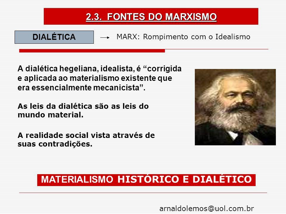 MATERIALISMO HISTÓRICO E DIALÉTICO