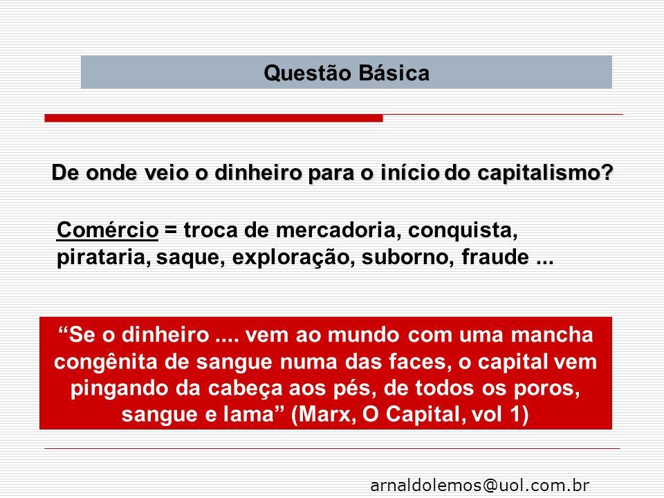 Questão Básica De onde veio o dinheiro para o início do capitalismo