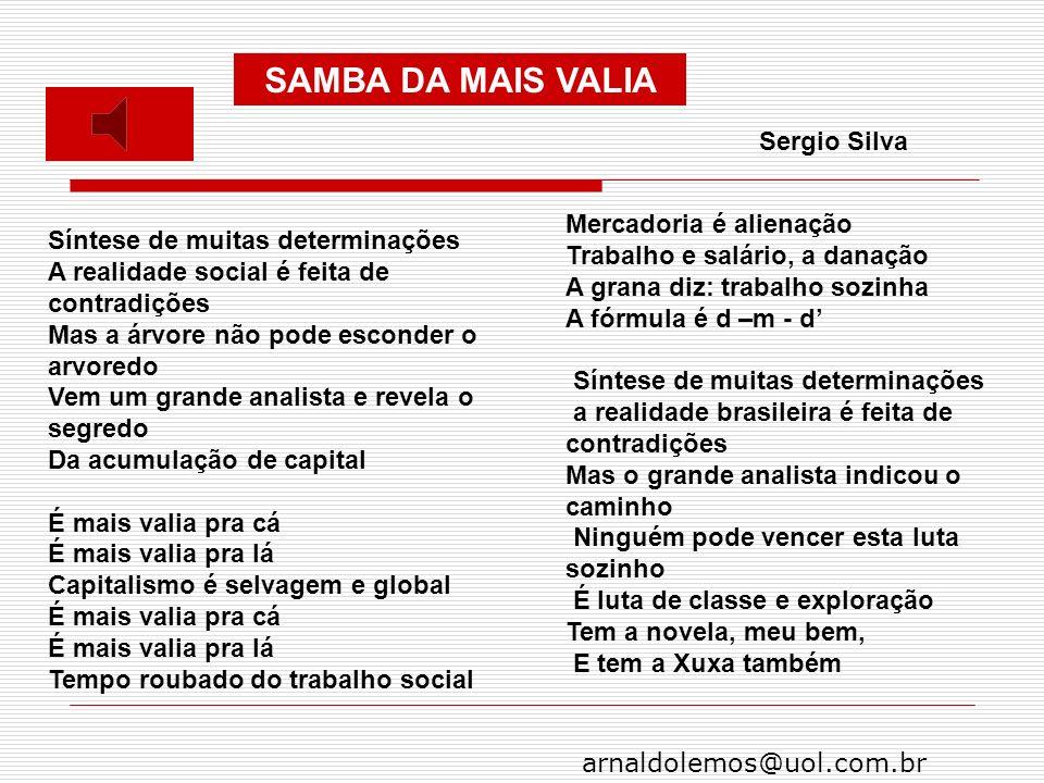 SAMBA DA MAIS VALIA Sergio Silva Mercadoria é alienação