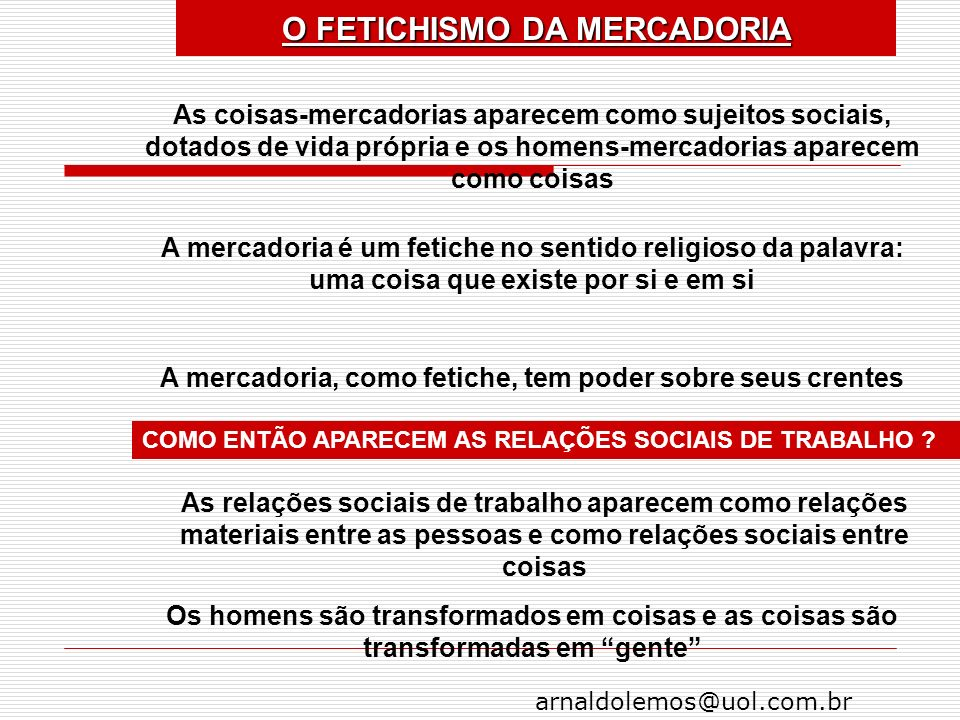 O FETICHISMO DA MERCADORIA