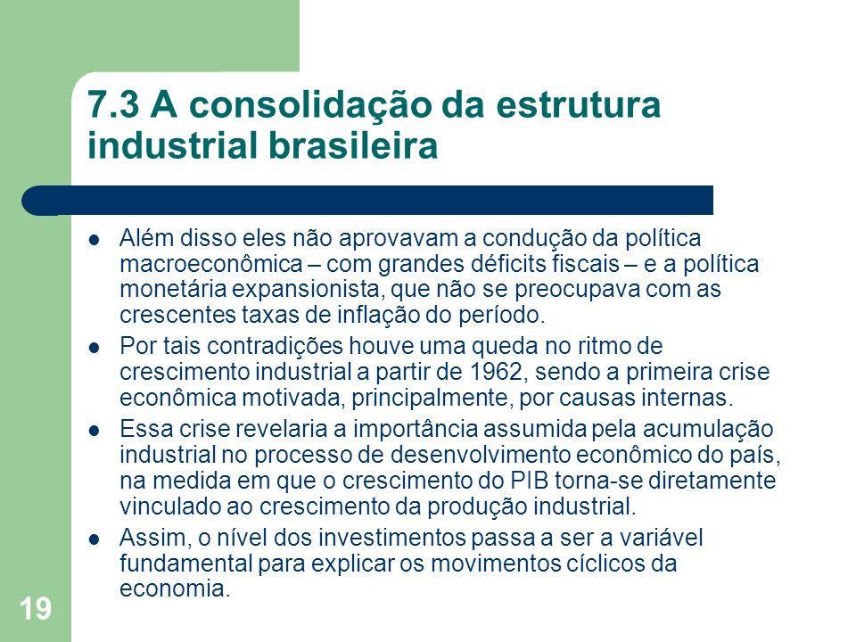 7.3 A consolidação da estrutura industrial brasileira