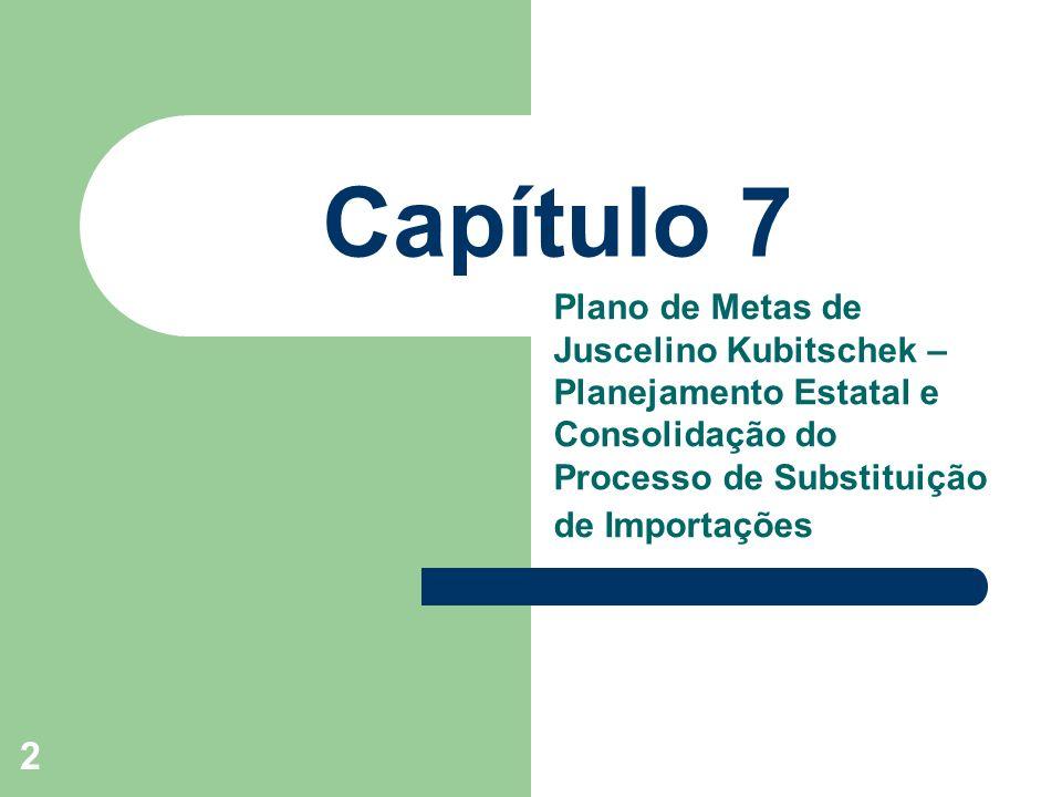 Capítulo 7 Plano de Metas de Juscelino Kubitschek – Planejamento Estatal e Consolidação do Processo de Substituição de Importações.