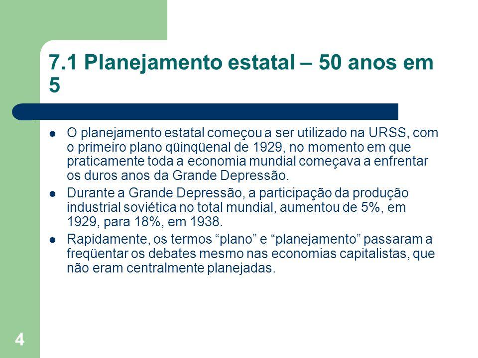 7.1 Planejamento estatal – 50 anos em 5
