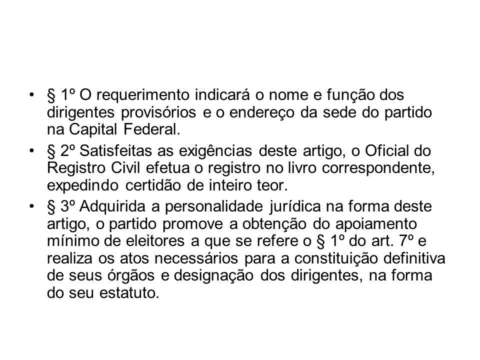 § 1º O requerimento indicará o nome e função dos dirigentes provisórios e o endereço da sede do partido na Capital Federal.