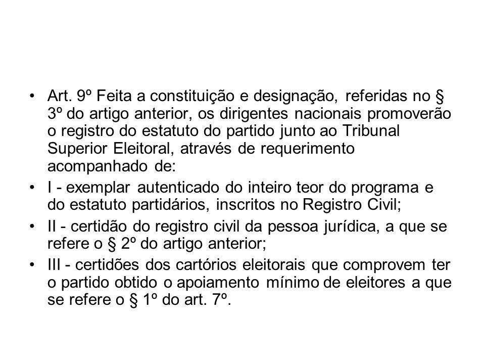Art. 9º Feita a constituição e designação, referidas no § 3º do artigo anterior, os dirigentes nacionais promoverão o registro do estatuto do partido junto ao Tribunal Superior Eleitoral, através de requerimento acompanhado de: