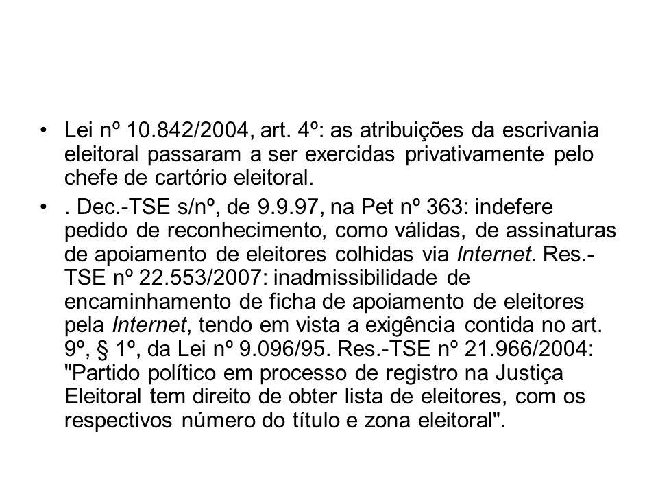 Lei nº 10.842/2004, art. 4º: as atribuições da escrivania eleitoral passaram a ser exercidas privativamente pelo chefe de cartório eleitoral.