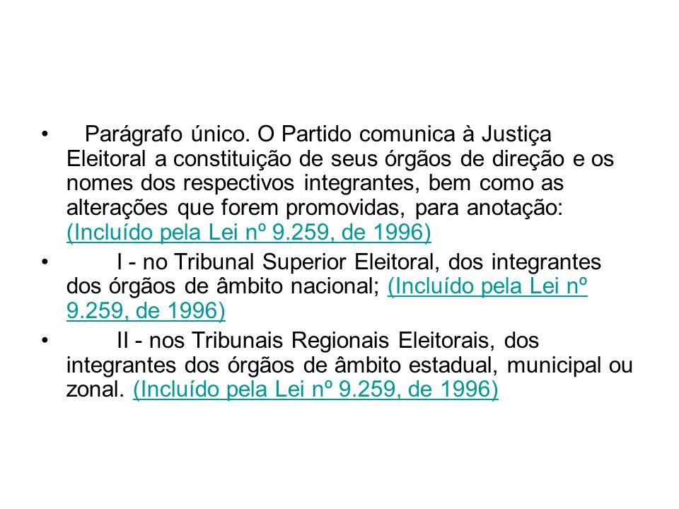 Parágrafo único. O Partido comunica à Justiça Eleitoral a constituição de seus órgãos de direção e os nomes dos respectivos integrantes, bem como as alterações que forem promovidas, para anotação: (Incluído pela Lei nº 9.259, de 1996)