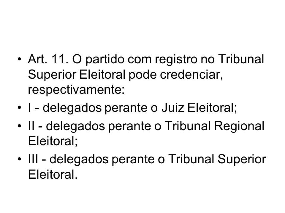 Art. 11. O partido com registro no Tribunal Superior Eleitoral pode credenciar, respectivamente:
