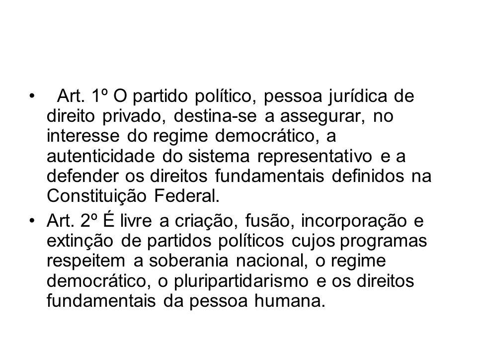 Art. 1º O partido político, pessoa jurídica de direito privado, destina-se a assegurar, no interesse do regime democrático, a autenticidade do sistema representativo e a defender os direitos fundamentais definidos na Constituição Federal.