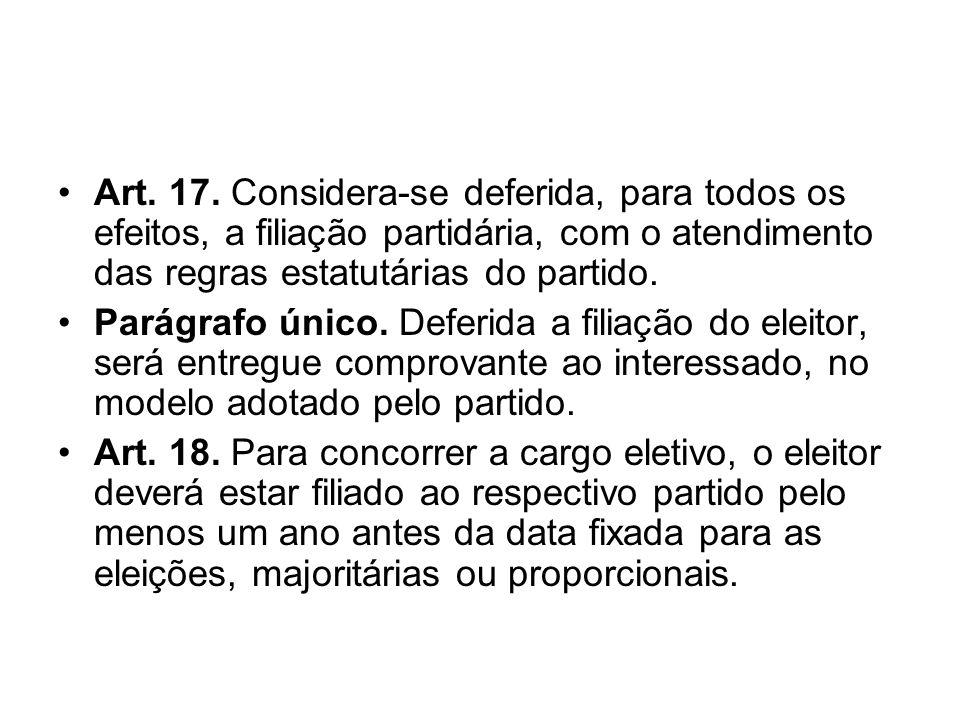 Art. 17. Considera-se deferida, para todos os efeitos, a filiação partidária, com o atendimento das regras estatutárias do partido.