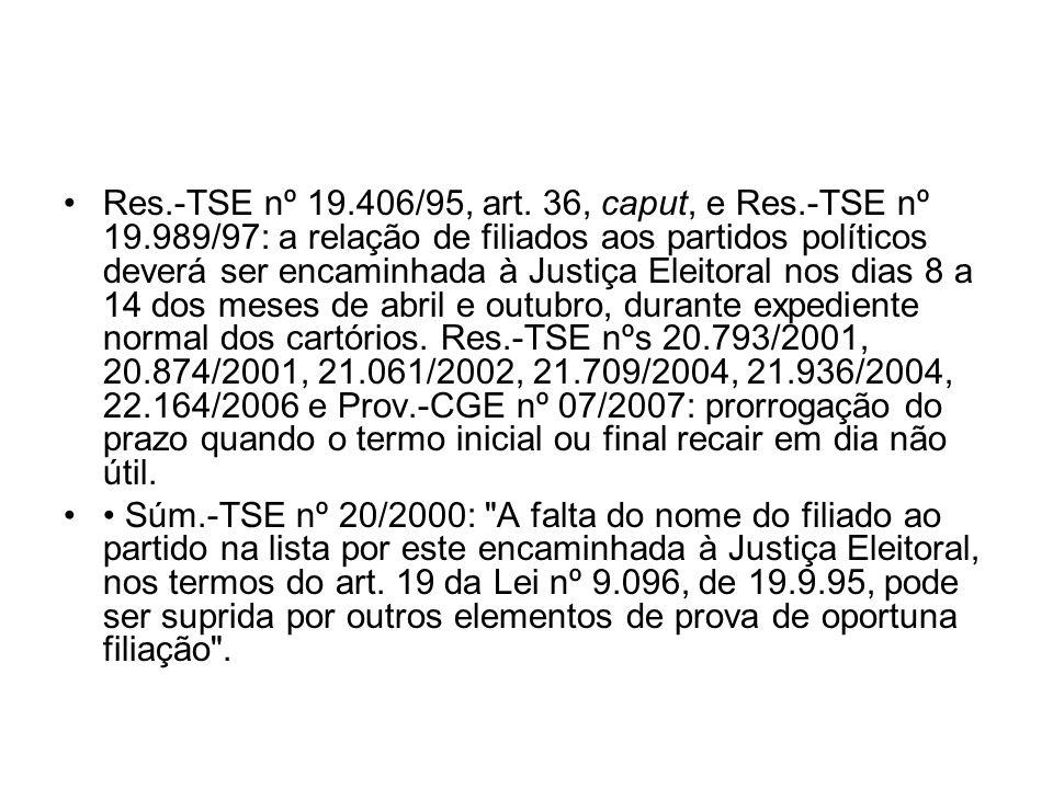 Res. -TSE nº 19. 406/95, art. 36, caput, e Res. -TSE nº 19