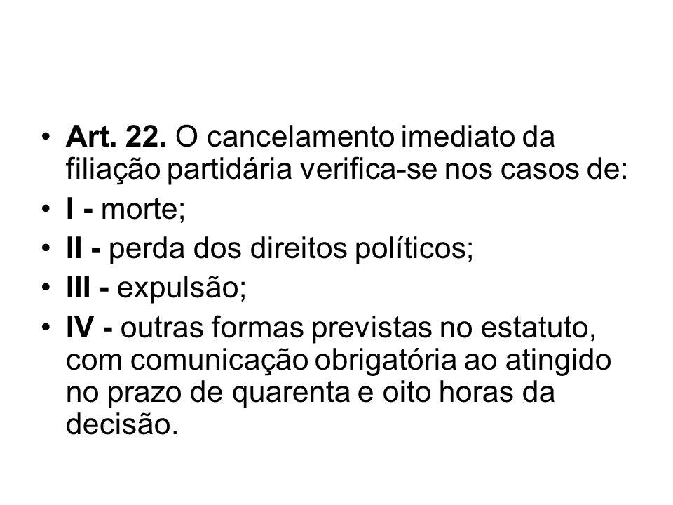 Art. 22. O cancelamento imediato da filiação partidária verifica-se nos casos de: