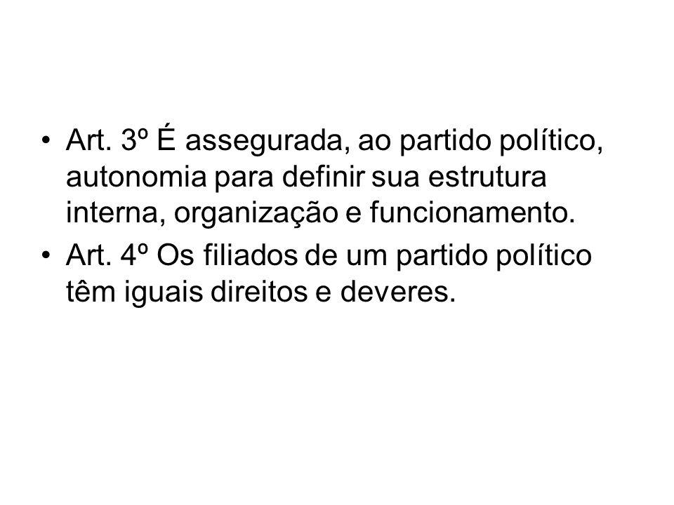 Art. 3º É assegurada, ao partido político, autonomia para definir sua estrutura interna, organização e funcionamento.