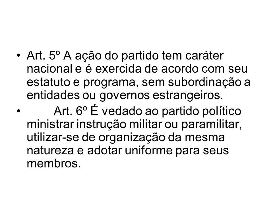 Art. 5º A ação do partido tem caráter nacional e é exercida de acordo com seu estatuto e programa, sem subordinação a entidades ou governos estrangeiros.