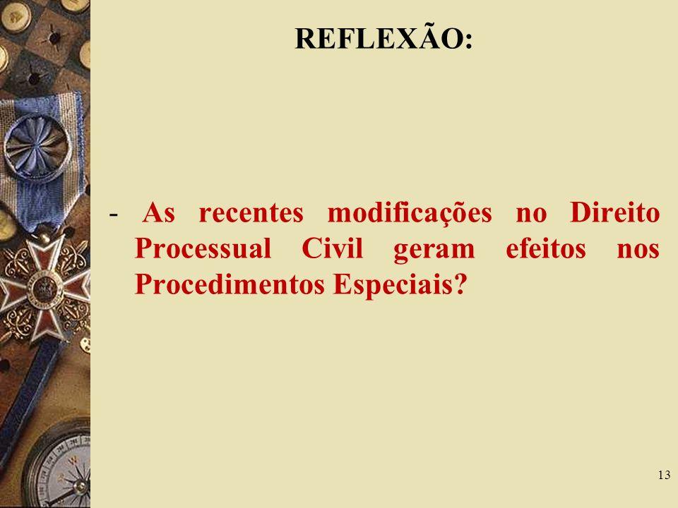 REFLEXÃO: - As recentes modificações no Direito Processual Civil geram efeitos nos Procedimentos Especiais
