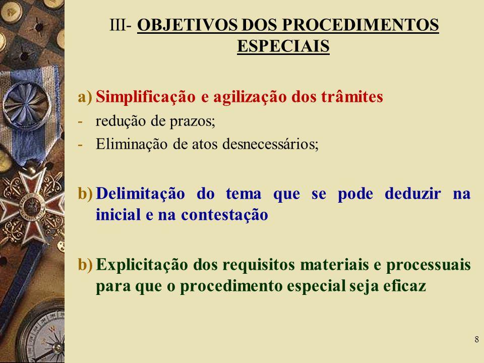 III- OBJETIVOS DOS PROCEDIMENTOS ESPECIAIS