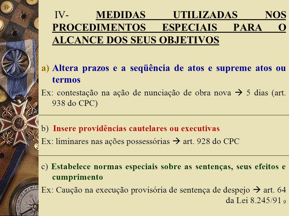 IV- MEDIDAS UTILIZADAS NOS PROCEDIMENTOS ESPECIAIS PARA O ALCANCE DOS SEUS OBJETIVOS