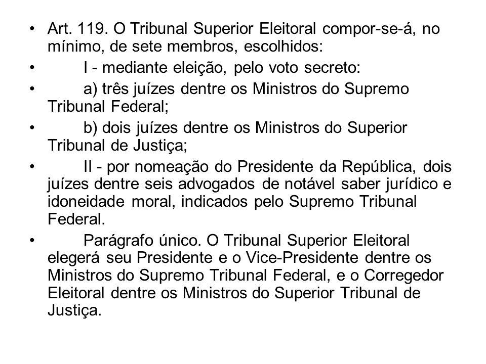 Art. 119. O Tribunal Superior Eleitoral compor-se-á, no mínimo, de sete membros, escolhidos: