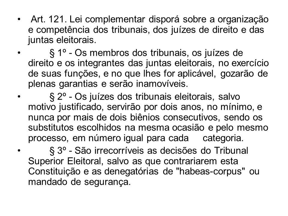 Art. 121. Lei complementar disporá sobre a organização e competência dos tribunais, dos juízes de direito e das juntas eleitorais.