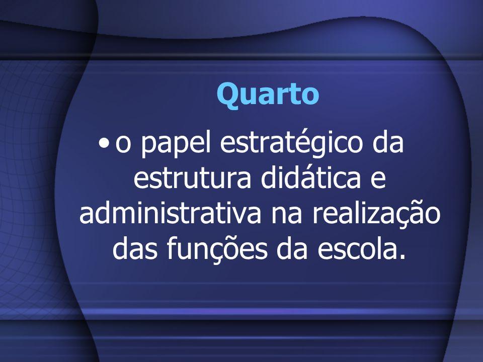 Quartoo papel estratégico da estrutura didática e administrativa na realização das funções da escola.