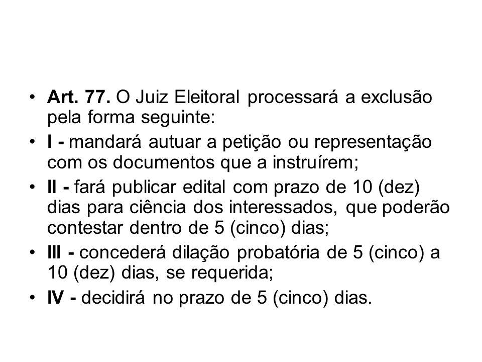 Art. 77. O Juiz Eleitoral processará a exclusão pela forma seguinte: