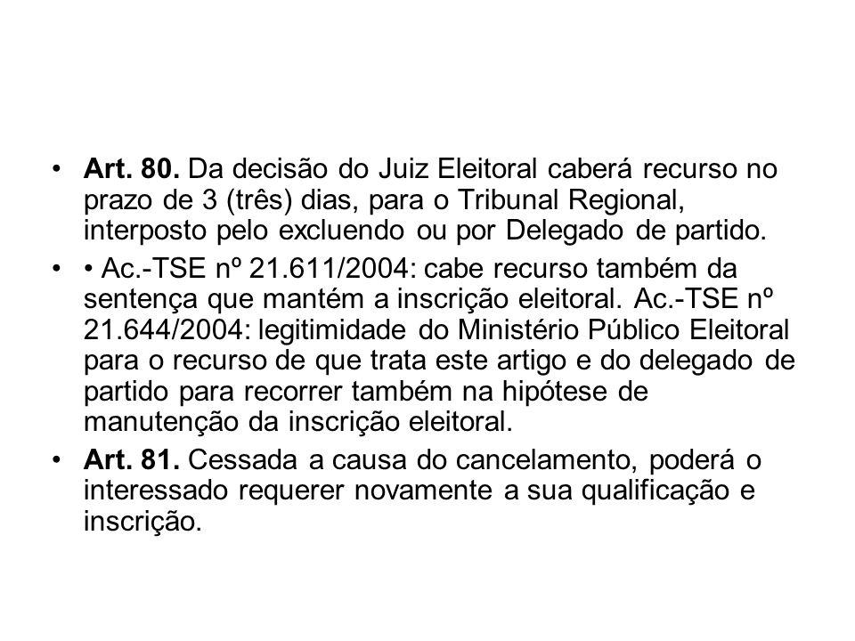 Art. 80. Da decisão do Juiz Eleitoral caberá recurso no prazo de 3 (três) dias, para o Tribunal Regional, interposto pelo excluendo ou por Delegado de partido.