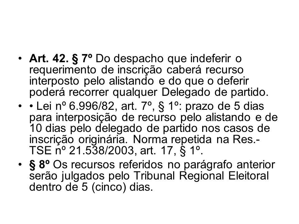 Art. 42. § 7º Do despacho que indeferir o requerimento de inscrição caberá recurso interposto pelo alistando e do que o deferir poderá recorrer qualquer Delegado de partido.