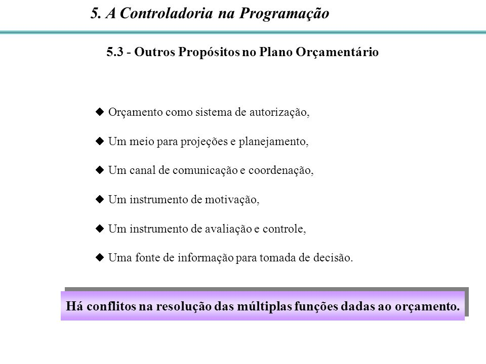 Há conflitos na resolução das múltiplas funções dadas ao orçamento.