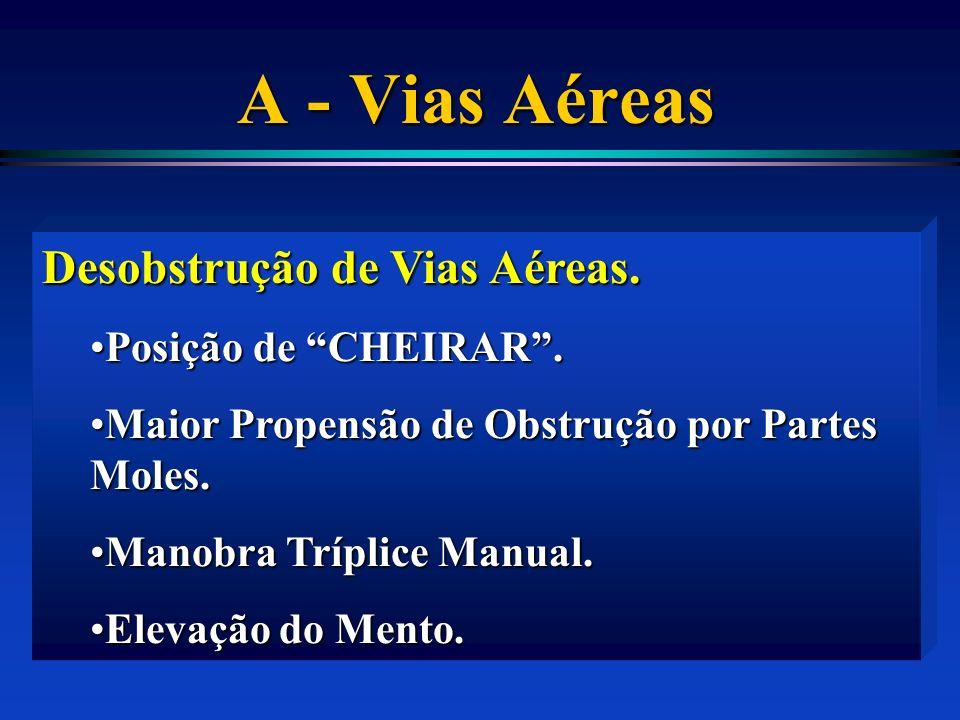 A - Vias Aéreas Desobstrução de Vias Aéreas. Posição de CHEIRAR .