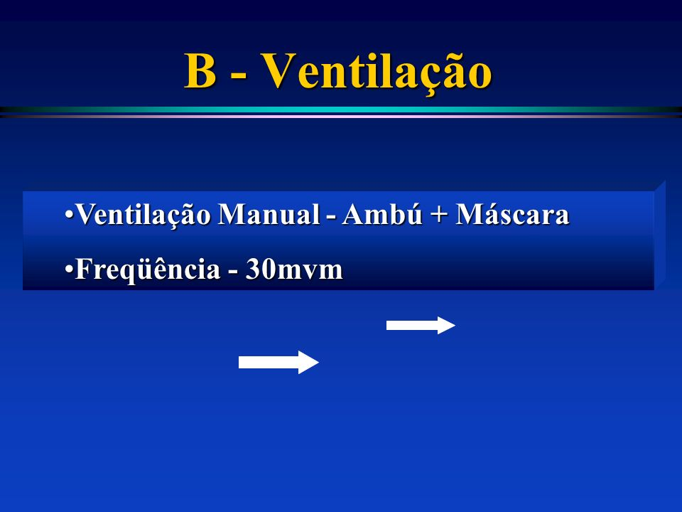 B - Ventilação Ventilação Manual - Ambú + Máscara Freqüência - 30mvm