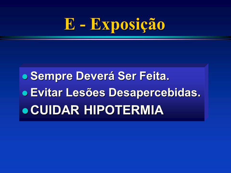 E - Exposição CUIDAR HIPOTERMIA Sempre Deverá Ser Feita.