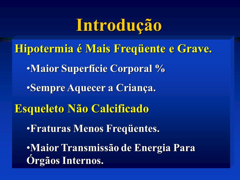 Introdução Hipotermia é Mais Freqüente e Grave.