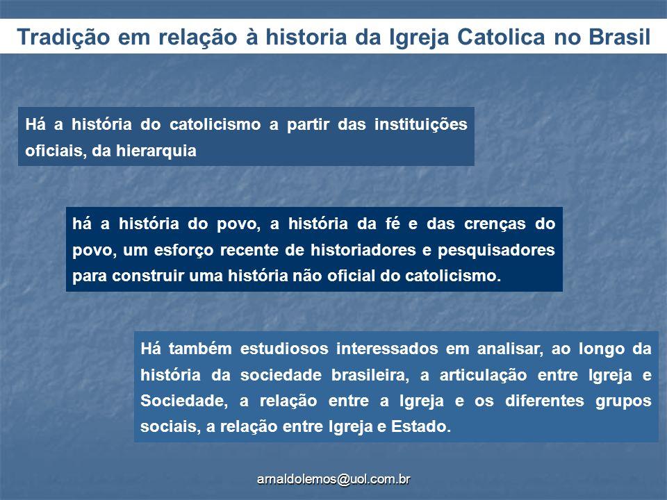 Tradição em relação à historia da Igreja Catolica no Brasil