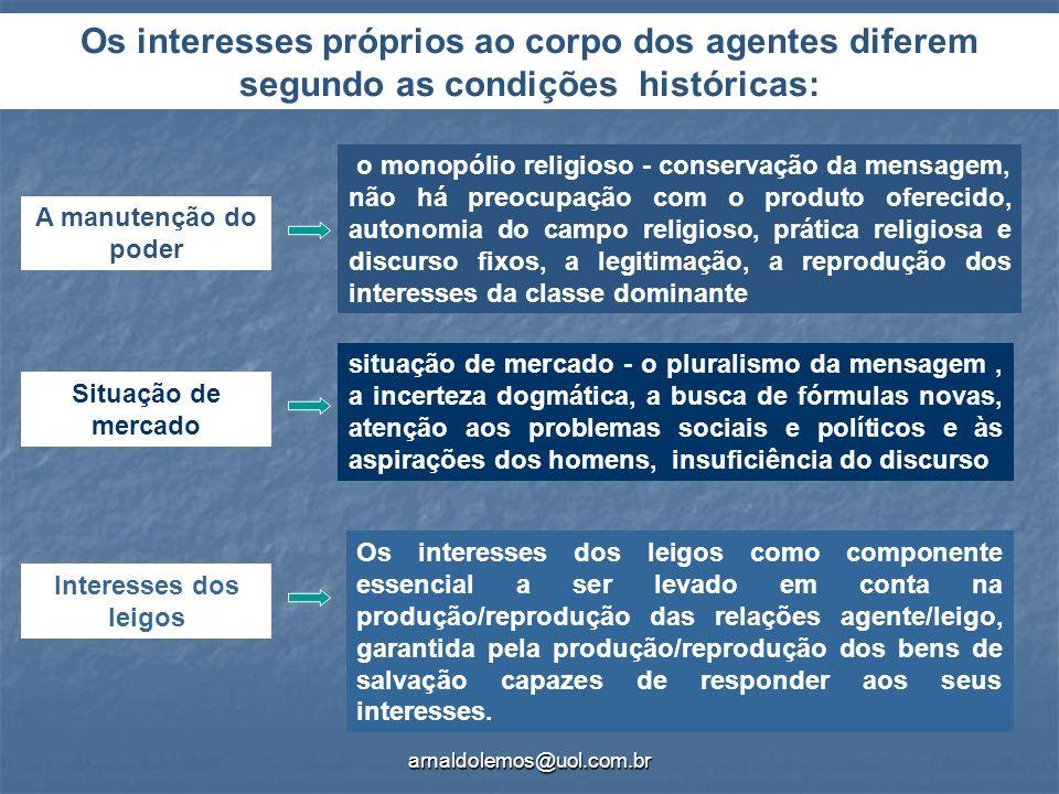 Os interesses próprios ao corpo dos agentes diferem segundo as condições históricas: