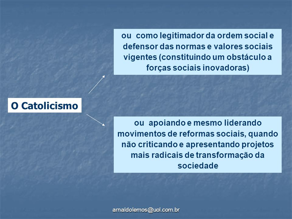 ou como legitimador da ordem social e defensor das normas e valores sociais vigentes (constituindo um obstáculo a forças sociais inovadoras)