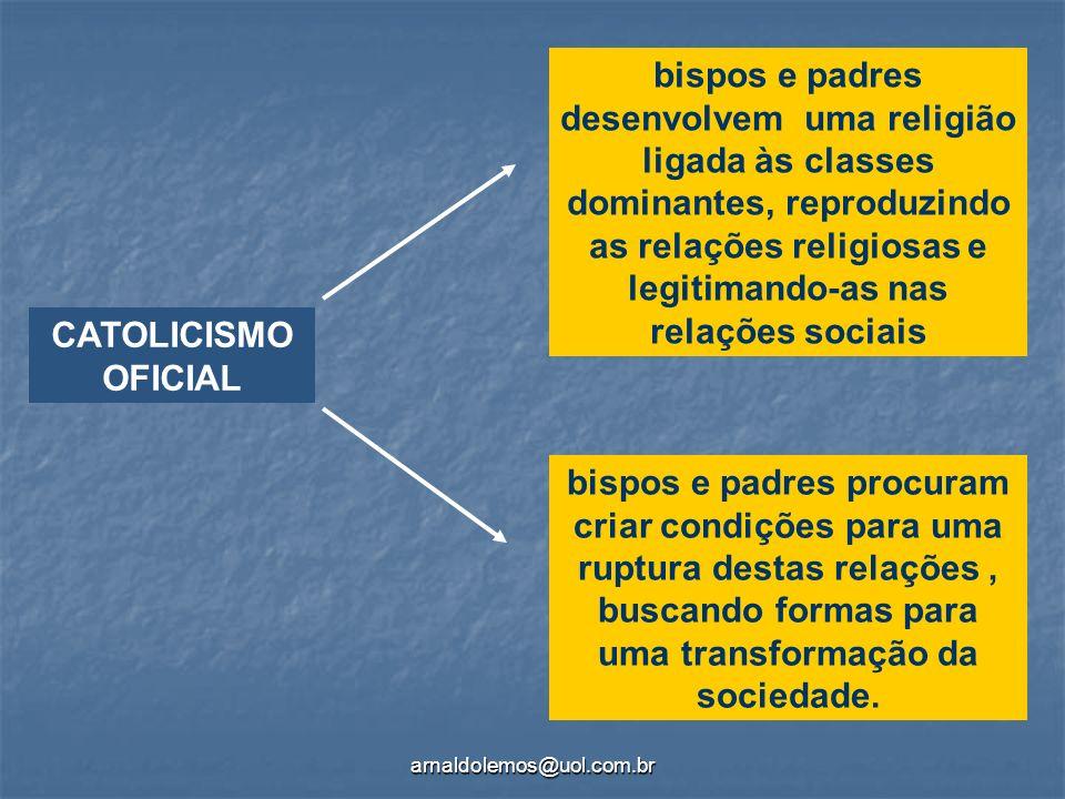 bispos e padres desenvolvem uma religião ligada às classes dominantes, reproduzindo as relações religiosas e legitimando-as nas relações sociais