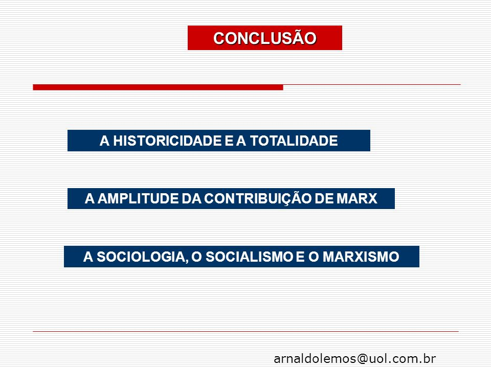 CONCLUSÃO A HISTORICIDADE E A TOTALIDADE