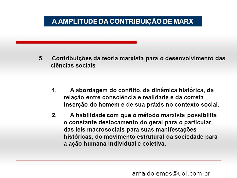 A AMPLITUDE DA CONTRIBUIÇÃO DE MARX