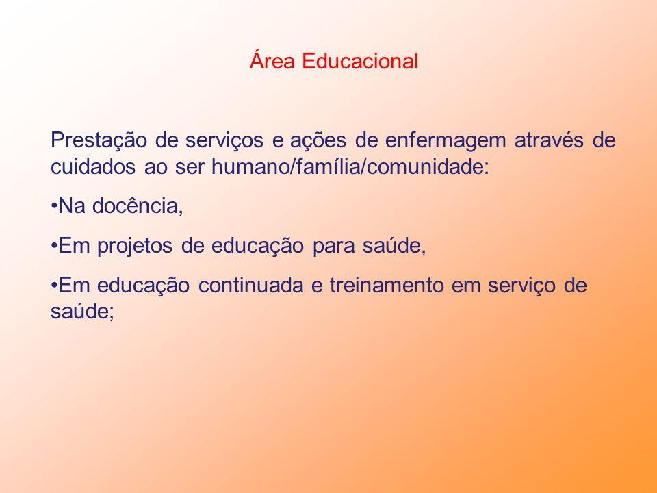 Área Educacional Prestação de serviços e ações de enfermagem através de cuidados ao ser humano/família/comunidade: