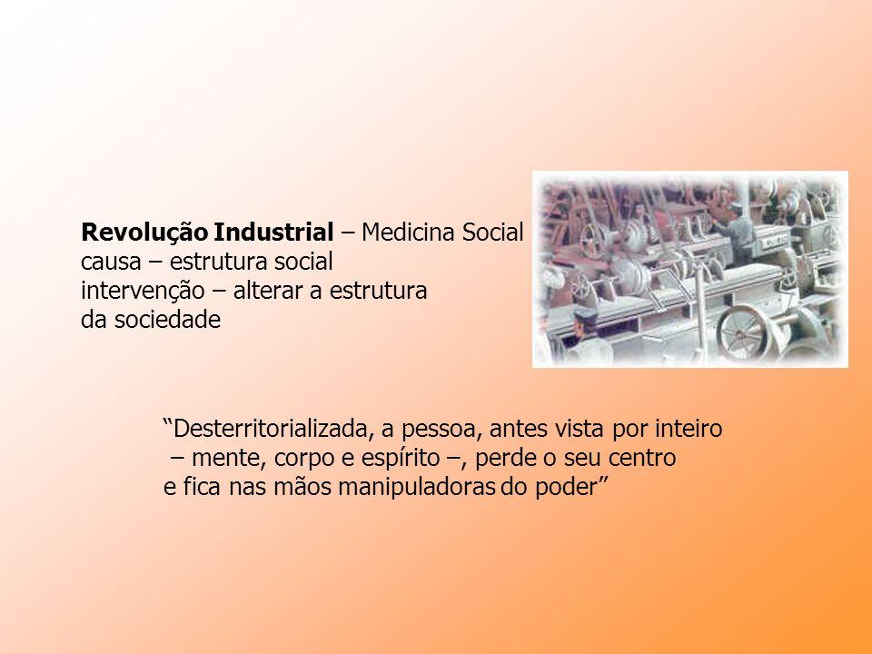 Revolução Industrial – Medicina Social causa – estrutura social intervenção – alterar a estrutura