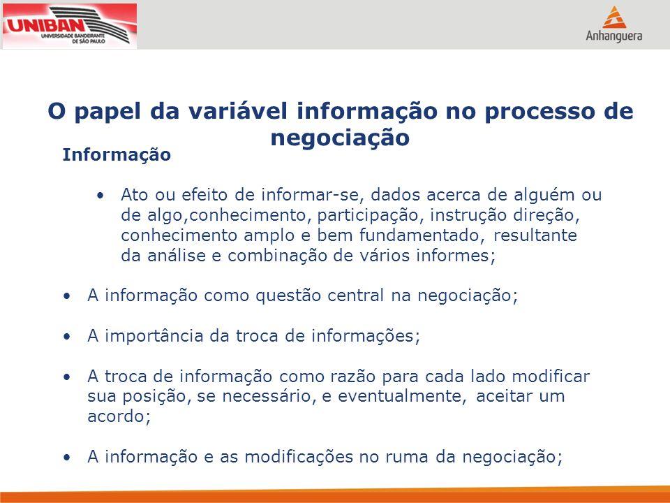 O papel da variável informação no processo de negociação