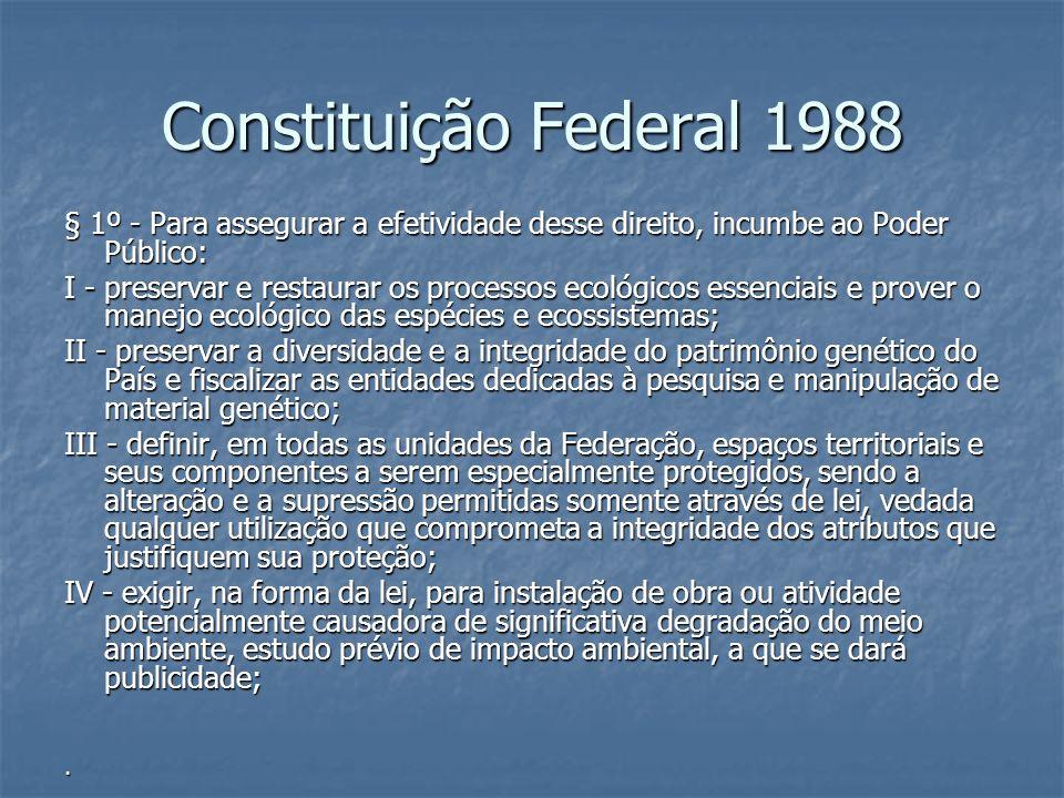 Constituição Federal 1988 § 1º - Para assegurar a efetividade desse direito, incumbe ao Poder Público:
