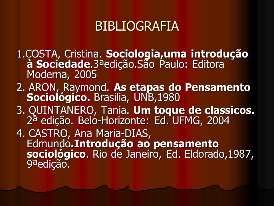 BIBLIOGRAFIA 1.COSTA, Cristina. Sociologia,uma introdução à Sociedade.3ªedição.São Paulo: Editora Moderna, 2005.