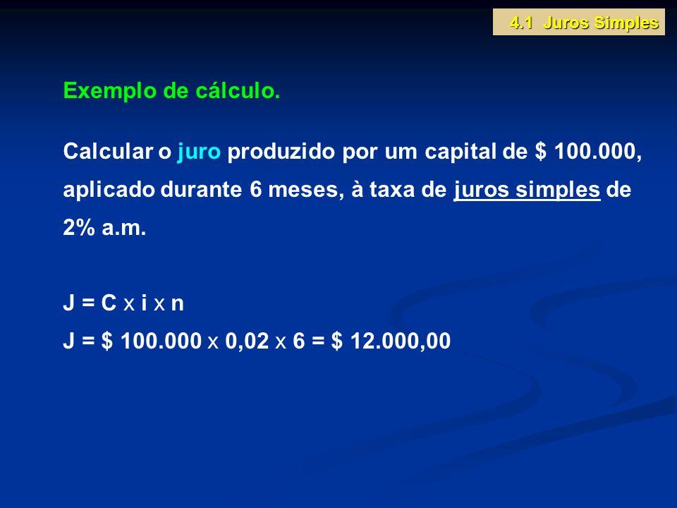 4.1 Juros Simples Exemplo de cálculo.