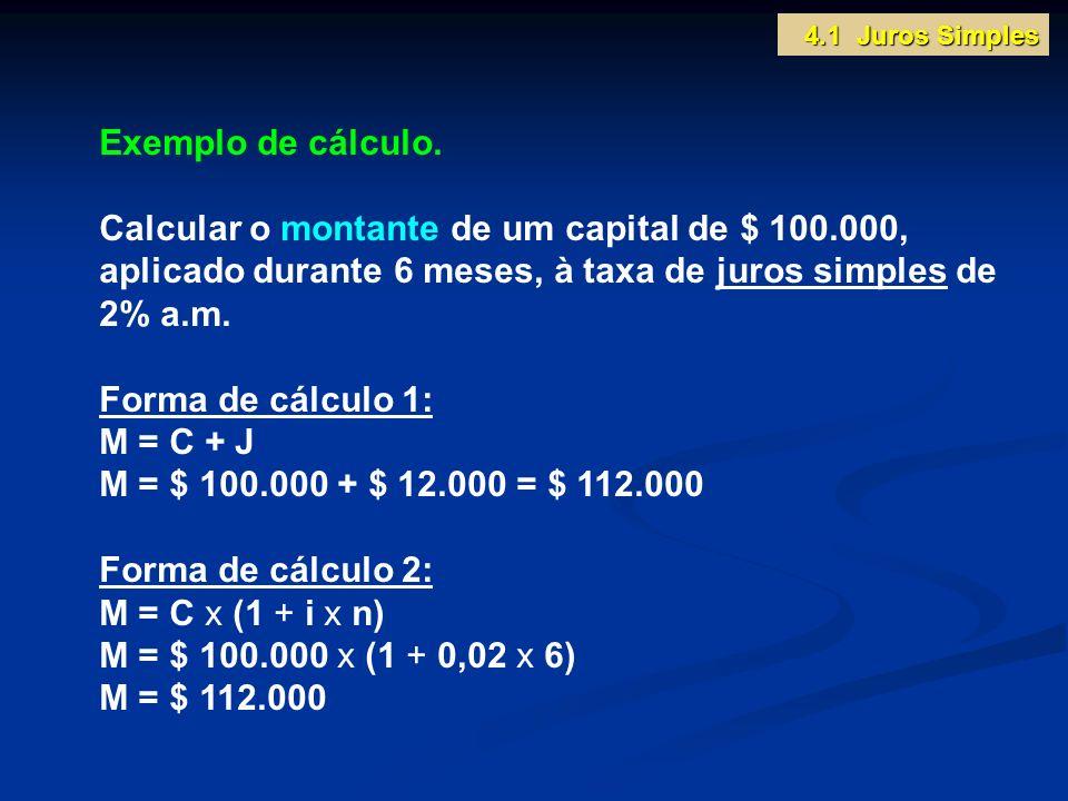 4.1 Juros Simples Exemplo de cálculo. Calcular o montante de um capital de $ 100.000, aplicado durante 6 meses, à taxa de juros simples de 2% a.m.