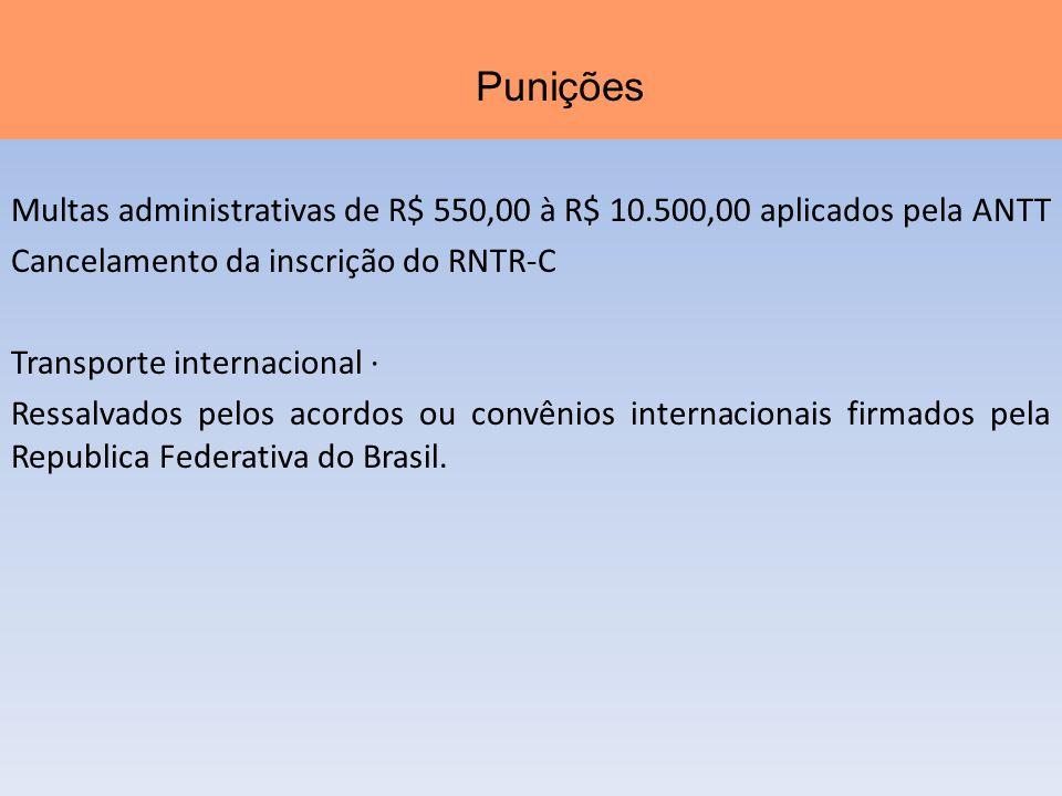 Multas administrativas de R$ 550,00 à R$ 10.500,00 aplicados pela ANTT