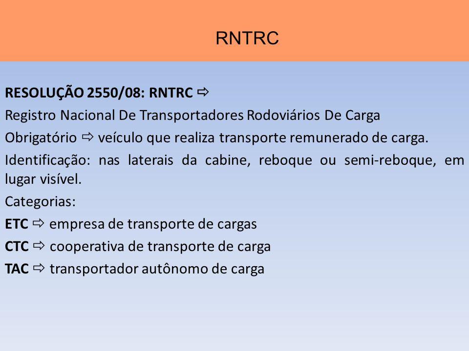 RNTRC RESOLUÇÃO 2550/08: RNTRC 