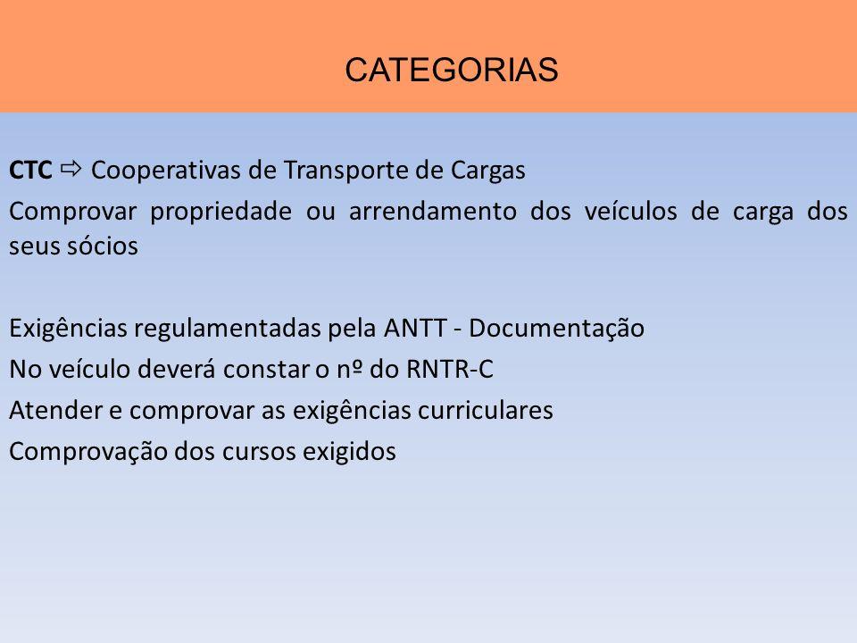 CATEGORIAS CTC  Cooperativas de Transporte de Cargas